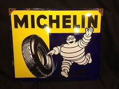 OLD AMAZING PORCELAIN MICHELIN MAN TIRE SIGN 31-1/2 x 26