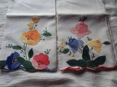 Hand Appliqued Tea Towels, Hand Towels