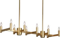 Delany Rectangular Chandelier by Robert Abbey. Available in antique brass, polished nickel, and deep patina bronze. for Down Light Bulb Type: Halogen Direct Wire Susp. x & 6 pcs. x Extension Rods Outdoor Light Fixtures, Ceiling Light Fixtures, Ceiling Lights, Interior Lighting, Modern Lighting, Lighting Design, Lighting Ideas, Lighting Solutions, Transitional Chandeliers