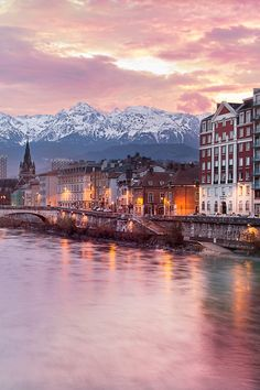 Grenoble at the foot of the Alps, France. Europe travel vacation honeymoon ideas