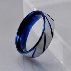Mens Blue Silver Brushed Stainless Steel Wedding Band Ring 7mm Size 8 | eBay