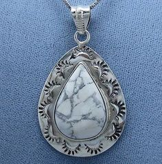 """Howlite """"White Turquoise"""" Western Necklace Sterling Silver"""