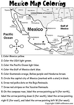 mexico coloring activities | eslthemes:Mexico Map Coloring
