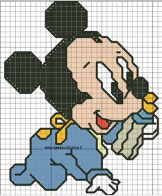 schema baby topolino alto 40 punti Mickey Mouse Blanket, Crochet Mickey Mouse, Baby Mickey Mouse, Mickey Y Minnie, C2c Crochet Blanket, Crochet Chart, Cross Stitch Designs, Cross Stitch Patterns, Baby Looney Tunes