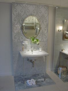 Waterworks Greenwich Showroom Display -  i also like the idea of this same pattern frosted on a wall of mirrors