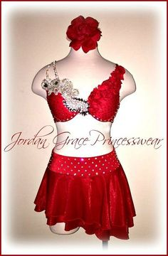 Red Two-Piece Floral Accent's with Jewel's.