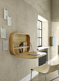 Contemporary Secretary Desk Oak Wall Mounted With Storage Nubo By Gamfratesi Ligne Roset