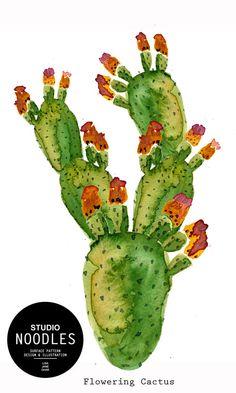 Cactus Desert plants. watercolour