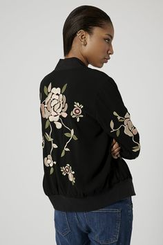 Floral Embroidered Bomber Jacket - Jackets & Coats - Clothing - Topshop Europe