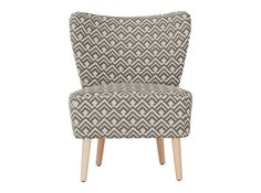 A wing back chair in a grey and beige Jacquard print. A Jacquard print is one in which the pattern is woven in rather than printed or dyed on the material. Wingback Accent Chair, Grey Chair, Accent Chairs, Bohemian Furniture, Luxury Furniture, Cocktail Chair, Patterned Chair, Luxury Loft, Grey And Beige