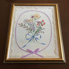 Vintage Framed Emboidery  Needlework  Floral by MyVintagePoint