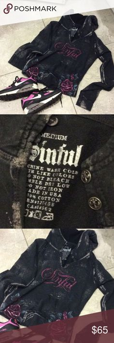 💯SinFull ROCKER Hoodie💯 Sinful sizing runs true to size, however it is designed to be a more fitted look, or fashion fit.Each garment will have a small variation in color and sizing due to the different washes used. The printing of this garment is unique to each individual shirt. No two shirts will be the exact same. The distressed, tattered/grinded edges, and worn look is part of the manufacturing process and is meant to enhance the design. Holes, and small tears are normal and intended…
