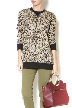 Taupe and black amoeba-print cotton french terry sweatshirt. Style this decorative sweat with a leather skater skirt.