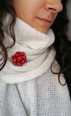 Red Brooch Handmade From Polymer Clay  Red by EvasCreationsShop