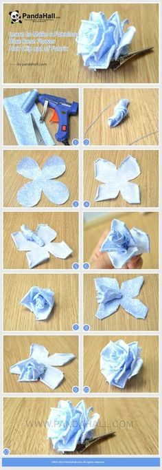 Jewelry Making Tutorial-How to Make Fabulous Rose Flower Hair Clip with Fabric | PandaHall Beads Jewelry Blog