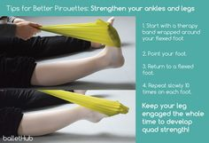 tips for improving pirouette strengthen ankles legs theraband exercise rubber band