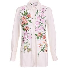 Floral Embroidery White Blouse