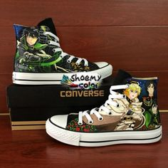 cefb3ddece43 Hand Painted Shoes Converse Seraph of the End High Top Canvas Sneaker