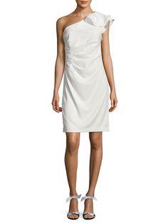 Carmen Marc Valvo Infusion Women S Pleated Asymmetrical Sheath Dress White Size 10