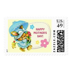 Happy Mother's Day. Vintage Sweet Bunny and Chick design Mother's Day Postage Stamps. Matching cards and gifts available in the Holiday / Mother's Day / Vintage Postcard Category of the oldandclassic store at zazzle.com
