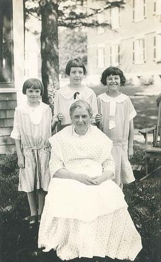 "Anita Alice Potter (right): The young girl under the care of Anna Delcheff a Bulgarian Shaker Sister at Hancock, MA. Anita came to the Shakers at age eight and left a few years later when her caretaker Anna, married her widowed father Mr. Potter in 1928. Read more of Anna's story on our website, www.shakerml.org/exhibitions ""Celebrating National Women's History Month: A Shaker Sketchbook"" Shaker Museum 