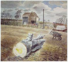 TREE TRUNK AND WHEELBARROW by ERIC RAVILIOUS PAINTED AT IRONBRIDGE FARM, ESSEX