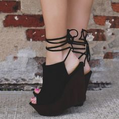 Shoespie Sexy Peep Toe Backless Lace Up Wedge Heels