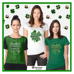 Irish Diva Shirts –  #StPatricksDay four leaf Clover for the Irish Lass in you, designed by #Gravityx9 at #Redbubble ~ Choose from several colors, styles and size options. These designs are also available on bags, cards, home decor, stickers and more!   #stpatricksdaywear #stpatricksdayshirt #stpatricksdaytee