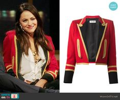 Eleanor's red military blazer on The Royals.  Outfit Details: https://wornontv.net/63064/ #TheRoyals