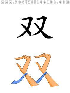双 = double,twin,pair. Shaped like a pair of hands. Detailed Chinese Lessons @ www.yostarlessons.com
