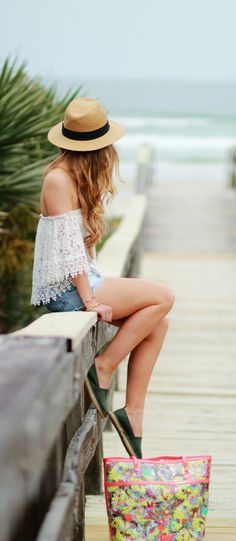 off the shoulder lace top, easy beach outfit