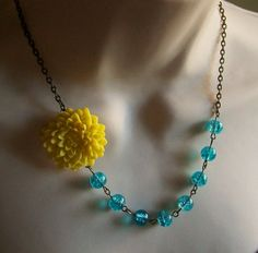 Bright Yellow Flower and Turquoise Beaded Necklace. Colorful. Bridal Jewelry. Chunky. Bridesmaid