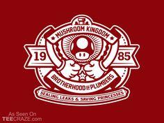 """Brotherhood of Plumbers"" by shoden Sealing leaks & saving princesses. Inspired by Super Mario Bros Geek Shirts, Cool T Shirts, Mario Brothers, Video Game Art, Video Games, Nintendo, Super Mario Bros, Shirt Designs, Geek Stuff"