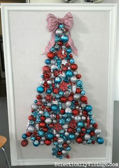 Make a festive DIY ornament Christmas tree!  eclecticallyvintage.com