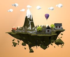 3D Island Low Poly by Mostafa Desha, via Behance