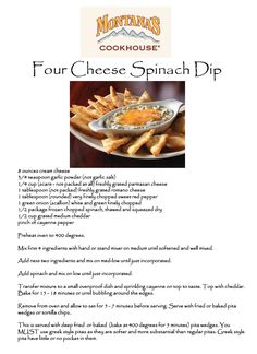 Montana's Four Cheese Spinach Dip. I work with a catering company that makes their own spinach dip but Montana's spinach dip is still my favourite. Dip Recipes, Appetizer Recipes, Snack Recipes, Cooking Recipes, Snacks, Appetizers, Recipies, Copycat Recipes, Easy Cooking