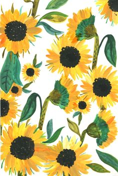 Sunday sunflowers by sea wallpaper, pattern wallpaper, wallpaper backgrounds, sunflower illustration L Wallpaper, Pattern Wallpaper, Wallpaper Backgrounds, Wallpaper Quotes, Cute Backgrounds, Cute Wallpapers, Sunflower Iphone Wallpaper, Sunflowers Background, Gouache Painting
