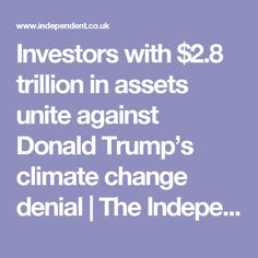Investors with $2.8 trillion in assets unite against Donald Trump's climate change denial | The Independent