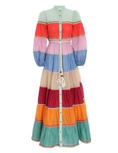 Resort Wear Dresses, Chic Outfits, Fashion Outfits, Skirt Fashion, Satin Midi Dress, Fantasy Dress, Tiered Dress, Designer Swimwear, Colorful Fashion