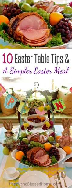 Beautiful Table! 10 Easter Table Tips with easter Decorating Ideas and A Simpler Easter Meal including ham, turkey, gravy and cranberries from HappyandBlessedHome.com