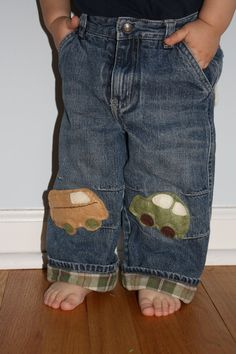 Boys car and van patch pants by intosomethingbetter on Etsy, $25.00