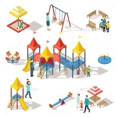 Colorful Isometric Playground Elements Set - Miscellaneous Vectors Download here : https://graphicriver.net/item/colorful-isometric-playground-elements-set/19627690?s_rank=156&ref=Al-fatih