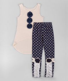 Love this Cream Hi-Low Tank & Navy Polka Dot Leggings - Toddler & Girls by Mia Belle Baby on #zulily! #zulilyfinds