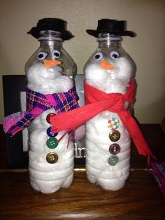 Idea - Easy Kid's Craft - stuff cotton balls into empty water bottle, add buttons, scarf, hat