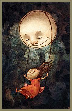 La lluna Moonlit Ride by Digital Art / Drawings & Paintings / Illustrations / Conceptual Art And Illustration, Design Illustrations, Art Fantaisiste, Moon Art, Whimsical Art, Stars And Moon, Moonlight, Street Art, Artsy