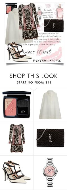 """""""Winter to spring"""" by b-a-hanen on Polyvore featuring Christian Dior, Chanel, Temperley London, Yves Saint Laurent, Valentino, Cartier, Elie Saab and Wintertospring"""