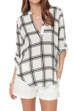 Mono Check Print V-neck Shirt with Long Sleeve - Beautifulhalo.com