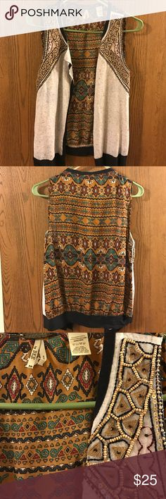 Gimmicks by Buckle beaded vest M only worn once, great condition. 70 poly/22 cotton/8 linen. cute boho print on the back Buckle Jackets & Coats Vests