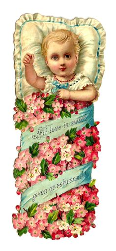 Victorian Die Cut of Baby with Pink Flowers