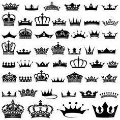 Conjunto de design de coroa - 50 ilustrações, vetor